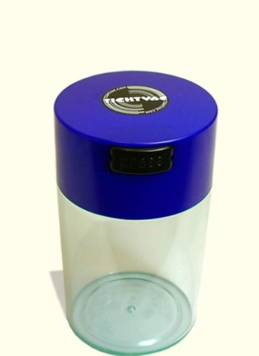 Tightvac - 1 oz to 6 ounce Airtight Multi-Use Vacuum Seal Portable Storage Container for Dry Goods, Food, and Herbs - Dark Blue Cap & Clear Body