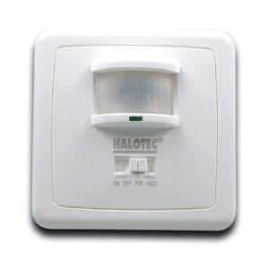 HALOTEC Interruptor detector por infrarrojos empotrable. Sensor de Movimiento para dentro y fuera. Ajustable