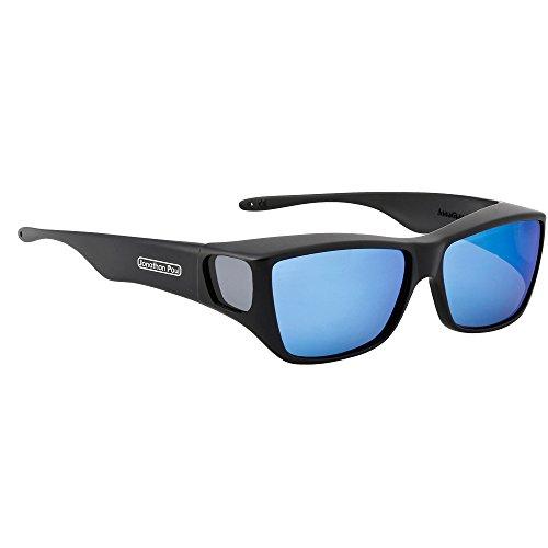 - Jonathan Paul Traveler Polarized Fitover Sunglasses in Satin Black with Blue Mirror