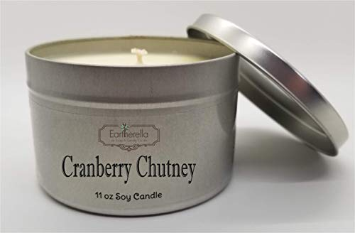 Berry Chutney - CRANBERRY CHUTNEY Natural Soy Wax 11 oz. Tin Candle, long 60+ hour burn time