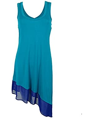 Calvin Klein Women's Asymmetric-Hem Color-Block Cover-Up Dress