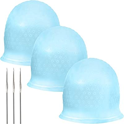 Silicone Highlight Cap Reusable Highlight Hair Cap Salon Hair Coloring Dye Cap with Hooks for Women Girls Dyeing Hair (3 Sets, Blue)