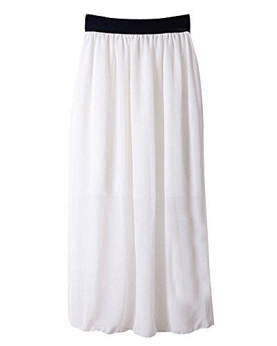 Mesdames Casual Taille lastique en Mousseline de Soie Longue Midi Jupe Femmes Mousseline de Soie lgant Pliss Jupe Blanc