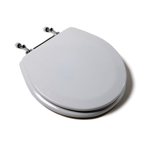 Comfort Seats C1B4R2-00CH Deluxe Molded Wood Toilet Seat with Chrome Hinges, Round, (Chrome Toilet Seat)