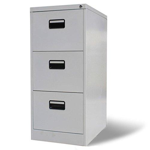 """vidaXL 3 Drawer Metal Hanging File Cabinet Office Storage Organizer 11""""x16.1""""x27"""" Gray"""