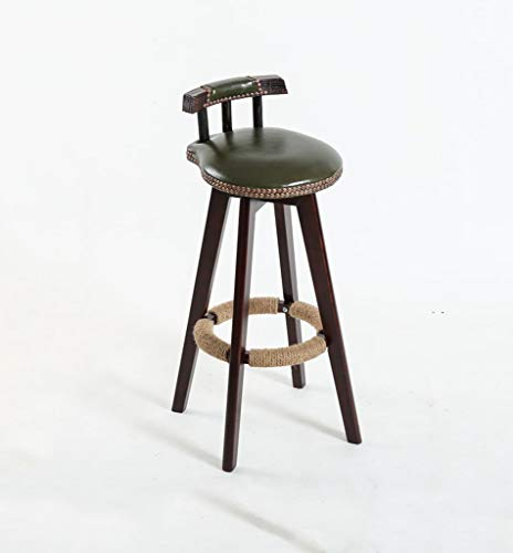 Hierro de alta heces Continental estilo simple, color de madera, de madera maciza, Rotacion del amortiguador de asiento Bar Recepcion del Presidente Europeo Banco de madera de epoca Taburetes Altura 7