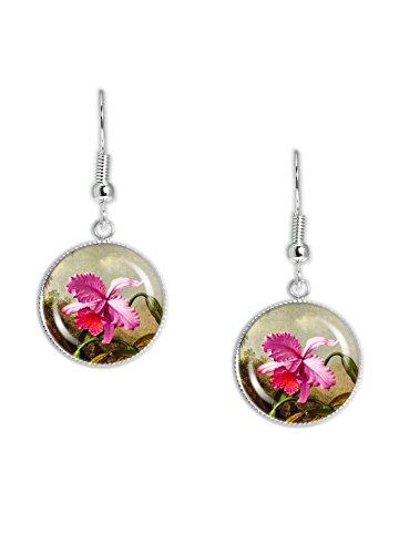 Painting Heade (Dark Pink Tropical Orchid Flower Heade Painting Dangle Earrings w/ 3/4