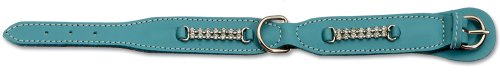 Petego La Cinopelca Soft Flat Leather Dog Collar with Crystals, Light Blue, Fits 11 Inches to 13 Inches