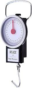 ميزان انالوج بعقارب (بحد اقصى 25 كجم) مع شريط قياس - خطاف للتعليق من الستانلس ستيل
