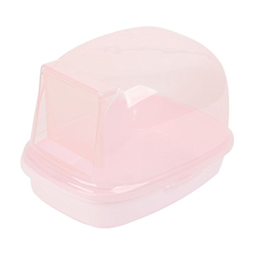 Plastic Small Animal Pet Bathroom Bathing Sand Room Cage Clear Pink