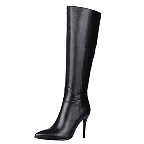 VOCOSI Women's Classic Side-Zip High Heels Leather Riding Boots Pointy Toe Knee-High Dress Boot Black 7 US (Side Skirt Zip Leather)