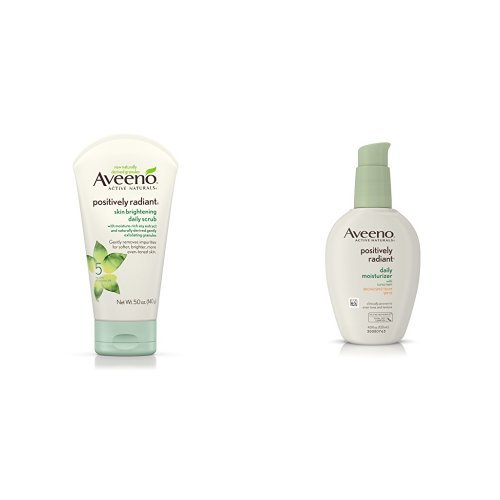 Aveeno Positively Radiant Skin Brightening Daily Scrub with Moisturizer Broad Spectrum (Best Face Wash For Radiant Skin)
