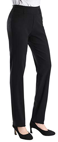 Foucome Dress Pants for Women- Bootcut Stretch High Waist Trousers with Belt Loops Black