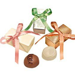 2 Piece Truffle Box (gold) with Holiday Ribbon - 100 Pieces by VARDA