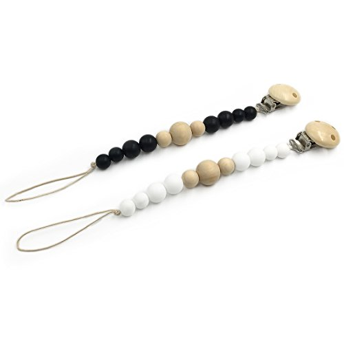 Amyster 2pcs Natural Silicone/Wooden Beads Wooden Pacifier Clip Newborn Baby Soother Chew Pacifier Chain DIY Baby Teething Grasping Toy (Pigment 1)