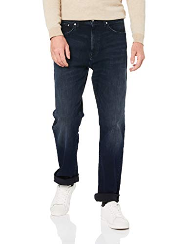 Calvin Klein Men's Relaxed Straight Jeans, Boston Blue/Black, 38x32 (Jogger Fit Jeans)