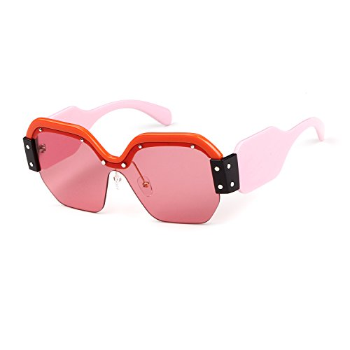 Oversized Sunglasses for Women Semi Rimless Trendy Candy Color Designer - Sunglasses Mom