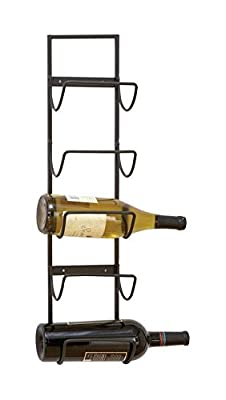 "Deco 79 63329 Metal Wall Wine Rack 25""H, 6""W -"
