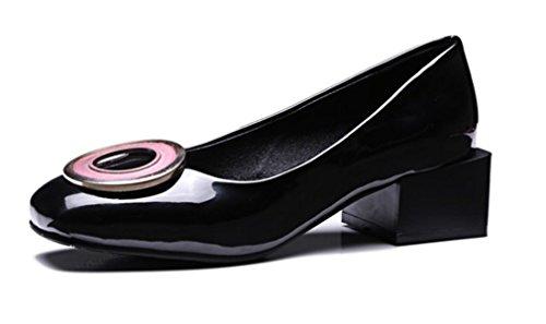 Scarpe Corte Da Black Tacchi Punta Passeggio Alti Comode Clover a a Tonda Sandali Nonna Lucky Zia Madre BIW6gqtwx