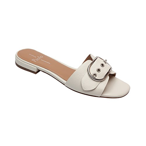 Ivory New Sandals Shoes (Levi | Women's Buckle Strap Comfortable Flat Sandal Leather or Suede (New Spring) Ivory Leather 9M)