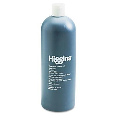 Higgins - Higgins Waterproof India Ink For Art/Technical Pens Black 32 Oz Bottle ''Product Category: Writing & Correction Supplies/Pens & Refills''