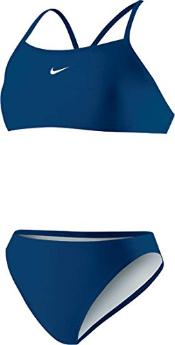 Nike Womens Poly Core Solid Sport Top 2PC Swimsuit Navy
