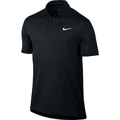 Amazon.com  Nike Court Dry Tennis Polo Black Black Black White Mens  Clothing  Shoes 89dfdfa45