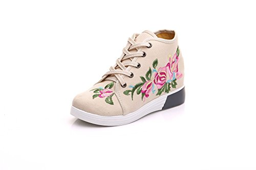 Lazutom Women Lady Vintage Chinese Style Embroidery Canvas Casual Travel Walking Sneaker Beige Zf9as
