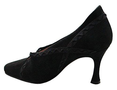 Antares 839 Femmes Italiennes Mi-talon Suede Noir