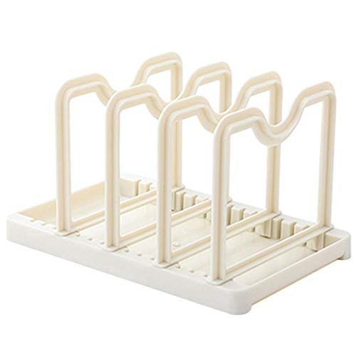 Fan-Ling 1PCS Kitchen Multi-Function Two-in-one Home Creative Knives Dish Rack,Kitchen Utensil Holder,Pot Lid Shelf, Pan Lid Holder for Pots and Pans,Kitchen Gadgets (White)
