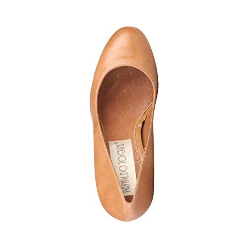 Leather Brown Arnaldo Shoes Plain Court Womens Ladies Toscani IwIq4