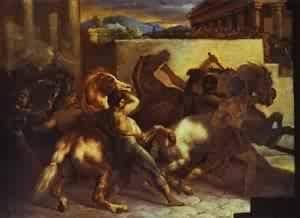 Hecho a mano de pintura al óleo de pintura GFM reproducciones de carrera de caballos salvajes en Roma 1817, pintura al óleo de Jean Louis Andre Theodore Gericault, 16 By 20 inches