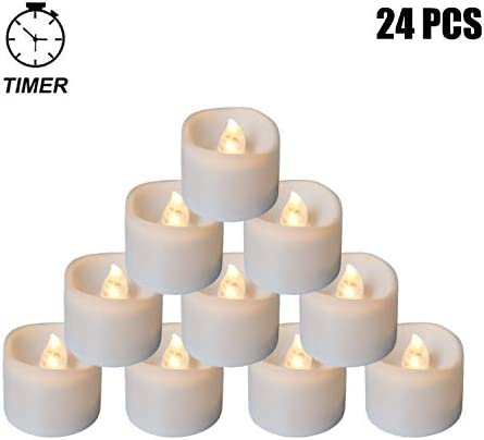 24 Pack Warm White Flickering Tea Light Candles Free 100 Fake Rose Petals, Flameless LED Tealights with Timer, 6 Hrs on and 18 Hrs Off, Battery Powered Candles for Wedding, Party and Home Lasting Long