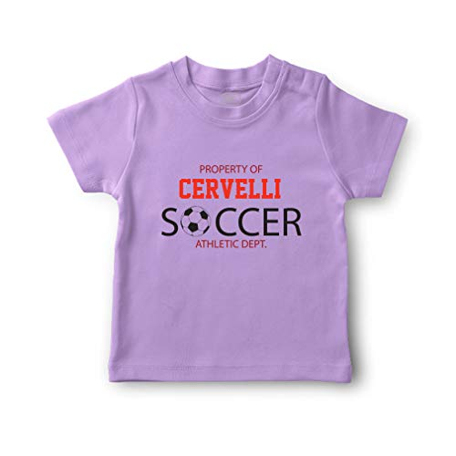 - Personalized Custom Property of Soccer Cotton Short Sleeve Crewneck Boys-Girls Toddler T-Shirt Jersey - Lavender, 4T