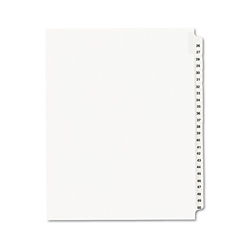 Avery 01331 Avery Avery-Style Legal Side Tab Dividers, 25-Tab, 26-50, Letter, WE, 25/Set, Carton of 20 sets (Avery 26 Tab Dividers)