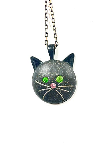 Black Cat Face Necklace with GREEN Crystal Eyes and -