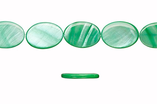 Shell bead, green(dyed) Mother-of-Pearl, oval plate, 26x18mm 16 inch/pack (2packs bundle), SAVE -