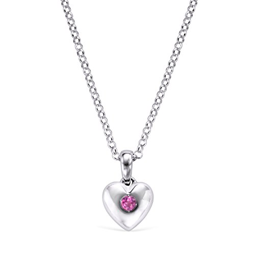 Little Diva Diamonds 925 Sterling Silver Simulated Pink Tourmaline October Birthstone Heart Pendant Necklace with 16