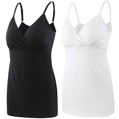 - ZUMIY Pregnancy Breastfeeding Top, Maternity Nursing Tank Tops Seamless Cotton Basic Vest Sleeping Breastfeeding Bra (Black+White/ 2-pk, XL)