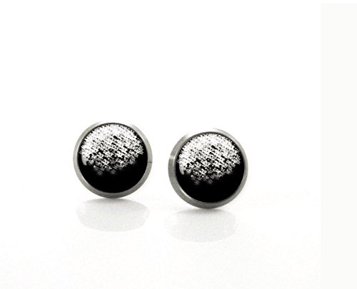 Black and White Unique Hand drawn Post Earrings   Hypoallergenic Earring Stud   Titanium Earring Stud   Nickel Free   Sensitive jewelry
