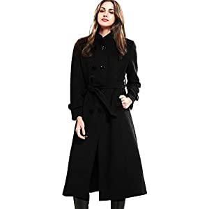 Escalier Women's Wool Trench Coat Winter Double-Breasted Jacket with Belts