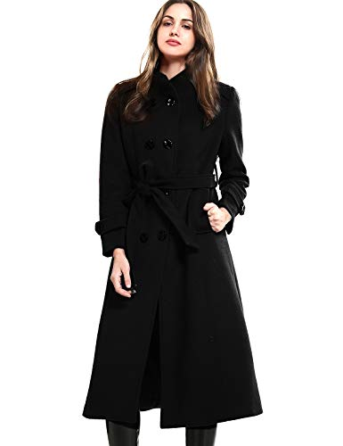 Escalier Women's Wool Trench Coat Double-Breasted Jacket with Belts Black L