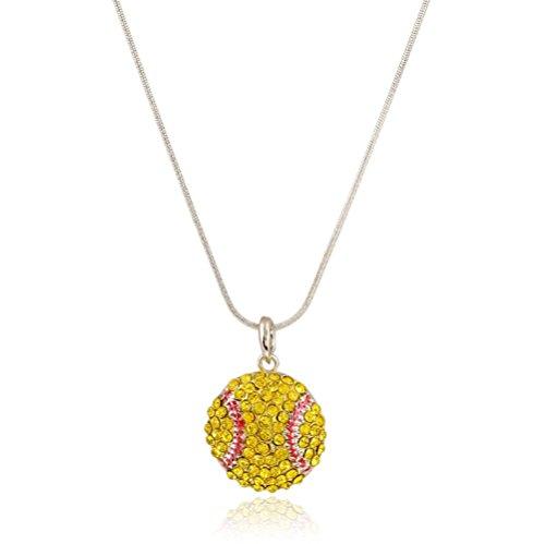 Price comparison product image Winter's Secret Popular Creative Sport Softball Diamond Accented Yellow Pendant Necklace