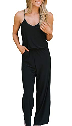 PRETTYGARDEN Women's Spaghetti Strap V Neck Button Drawstring Summer Stretchy Long Romper Jumpsuit with Pockets (144 Black, Small)