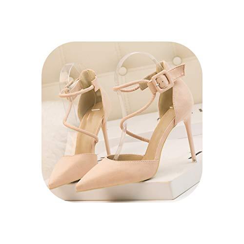 Pretty-Shop sandals 10cm Heels Women Sexy Banquet Summer Women's Shoes,Pink,35