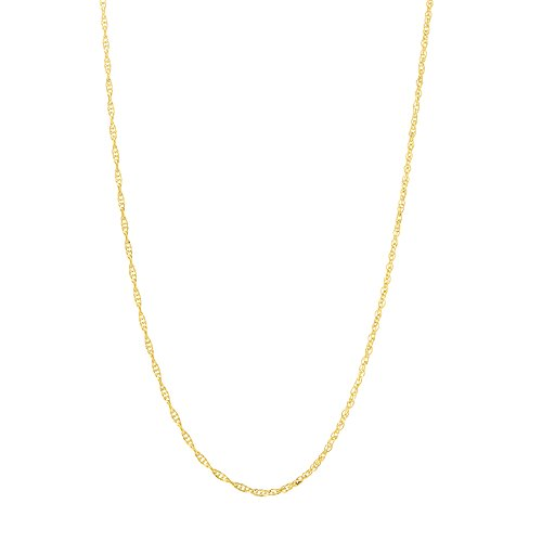 Beauniq 14k Yellow Gold 0.90 Millimeters Delicate Rope Chain Necklace, 20 Inches ()