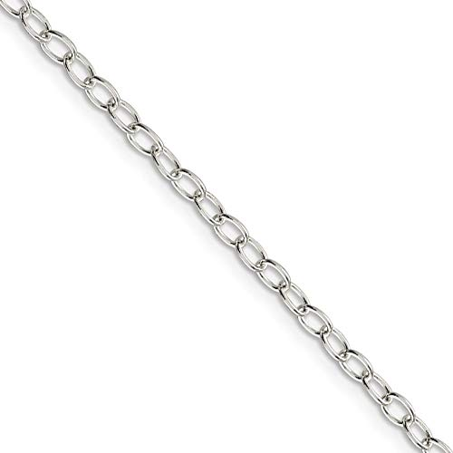 3.4mm, Sterling Silver, Solid Oval Cable Chain Necklace, 20 Inch