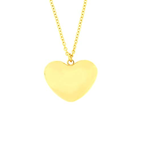 Plated Heart Puffed (Arrow Jewelry Stainless Steel Gold IP-Plated Puffed Heart Charm Pendant Love Necklace, 18