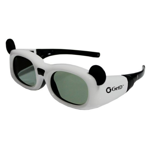GetD (TM) Active 3D Glasses White Funkys kids IR and BT Childrens Rechargeable 3D Active Glasses with Infrared signal comptability for Mainstream 3D Tvs for Sony Samsung Panasonic LG Philips Toshiba Philips Sharp Epson Mitsubishi and all Active Shutter 3D Tvs