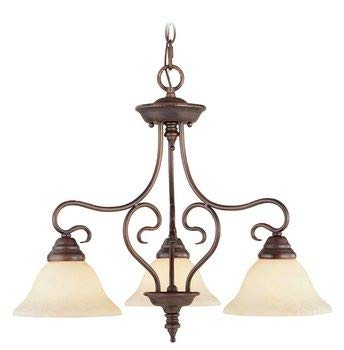 Livex Lighting 6133-58 Coronado - Three Light Chandelier, Imperial Bronze Finish with Vintage Scavo Glass